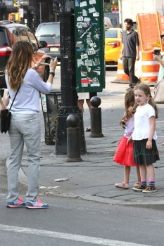 Sarah Jessica Parker snaps pictures of her twins Marion and Tabitha Broderick in NYC