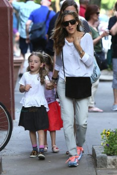 Sarah Jessica Parker with twins Marion & Tabitha Broderick out in NYC