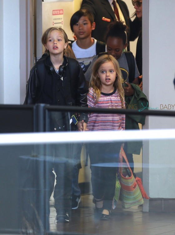 Shiloh, Vivienne, Pax and Zahara at LAX