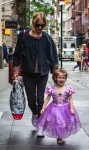 Sienna Miller with daughter Marlowe Sturridge dressed as a princess in NYC