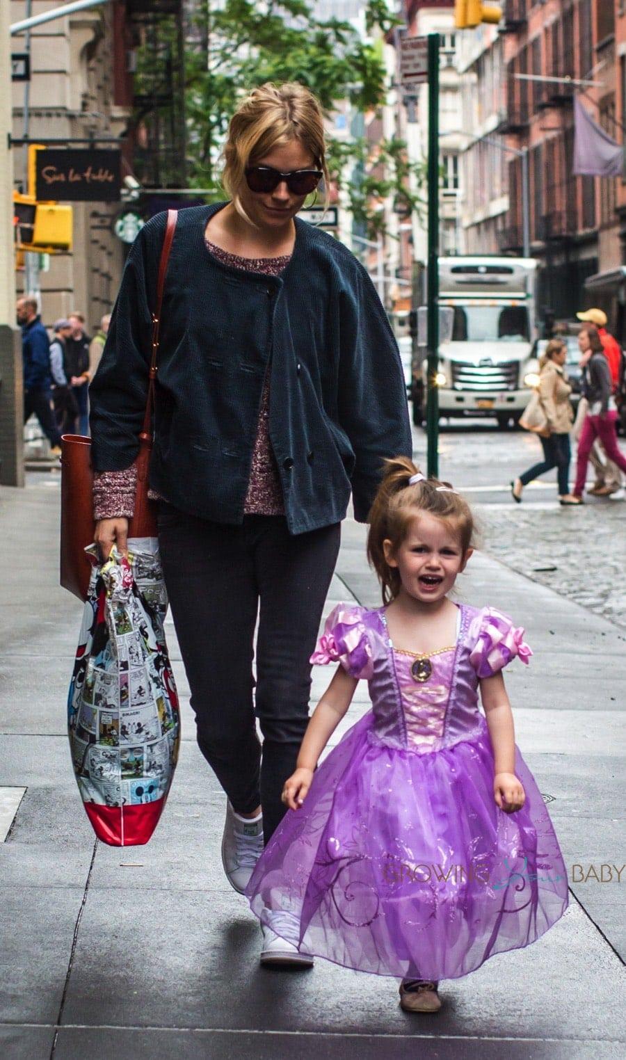 sienna miller with daughter marlowe sturridge dressed as a princess in