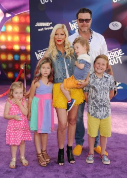 Tori Spelling and Dean McDermott attend the Inside Out Premiere with kids Liam, Stella, Hattie and Finn