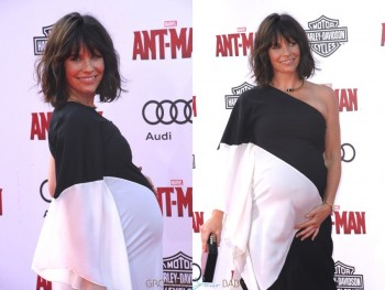 pregnant Evangeline Lilly at Antman Premiere