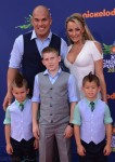 Amber Nichole and Tito Ortiz with kids Jesse, Journey and Jacob at 2015 Nickelodeon Kid's Choice Sports Awards
