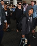 Angelina Jolie departs LAX with daughter Vivian and sons Maddox and Pax