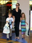 Angelina Jolie shops at Barnes and Nobel with twins Knox and Vivienne
