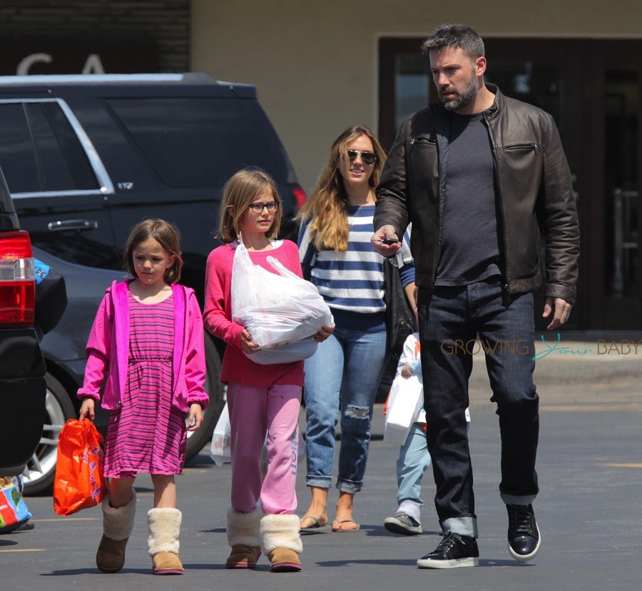 Ben Affleck with nanny Christine Ouzounian and kids Seraphina, Violet and Sam