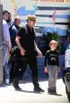 Brad Pitt leaves his twins birthday party with birthday boy Knox
