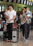 Chris Hemsworth in London with their twins Tristan and Sasha