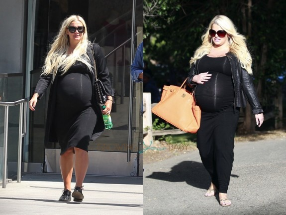 Comparison of sisters Ashlee and Jessica Simpson in their last trimesters with baby #2