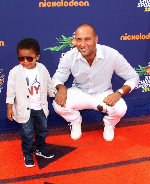Derek Jeter arrives at the Sports Choice Awards with his nephew Jaden