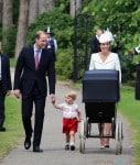 Duke and Duchess of Cambridge push baby Charlotte in a Millson pram on Christening Day