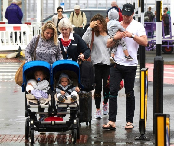 Elsa Pataky and Chris Hemsworth in London with their kids India, Tristan and Sasha