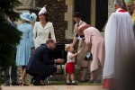 HRH Queen Elizabeth chats with Prince George at Princess Charlotte's Christening