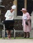 HRH Queen Elizabeth with the Duchess of Cambridge at Princess Charlotte's Christening