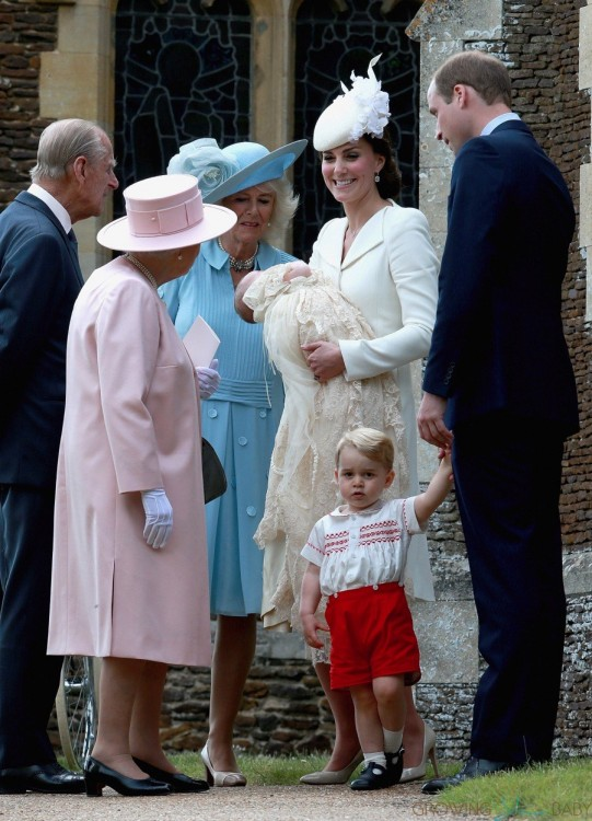 HRH Queen Elizabeth with the Duke and Duchess of Cambridge, Prince George and Princess Charlotte at Charlotte's Christening