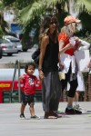 Halle Berry arrives at Westfield Mall in Century City with son Maceo Martinez