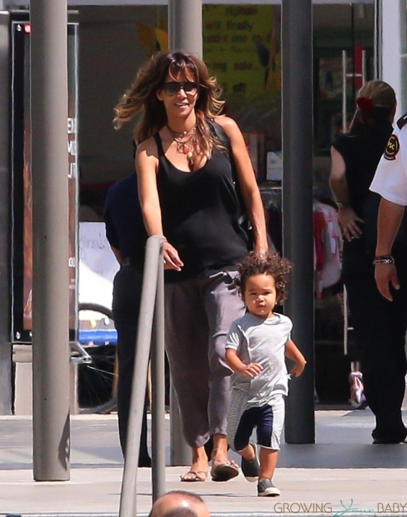 Halle Berry leaves Westfield Mall in Century City with son Maceo Martinez