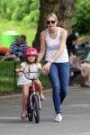Helena Giersch rises her bike in Central Park