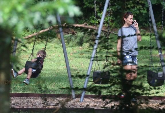 Jennifer Garner at the park with son Samuel Affleck