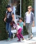 Jillian Michaels & Heidi Rhoades with kids Phoenix and Lukensia at Malibu Country Mart