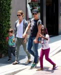 Jillian Michaels and Heidi Rhoades with kids Phoenix and Lukensia at Malibu Country Mart