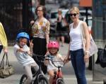Kelly Rutherford in Central Park with kids Hermes and Helena Giersch