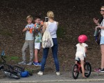 Kelly Rutherford take a picture of son Hermes in Central Park