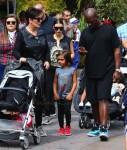 Kris Jenner and Corey Gamble at Disneyland with Mason to celebrate Penelope's Birthday