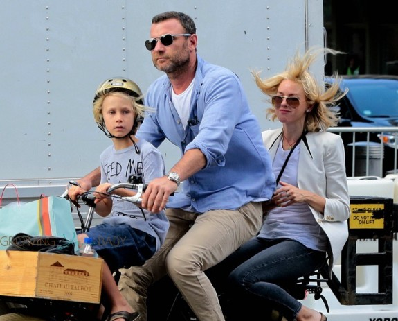 Liev Schreiber & Naomi Watts Out For A Bicycle Ride In NYC with son Sasha