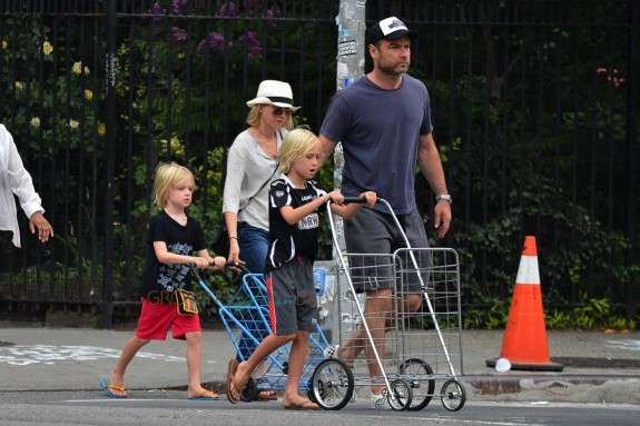 Liev Schreiber & Naomi Watts Out In NYC with sons Sasha and Samuel