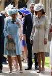 Michael Middleton, Camilla, Duchess of Cornwall, and Carole Middleton at Princess Charlotte's Christening