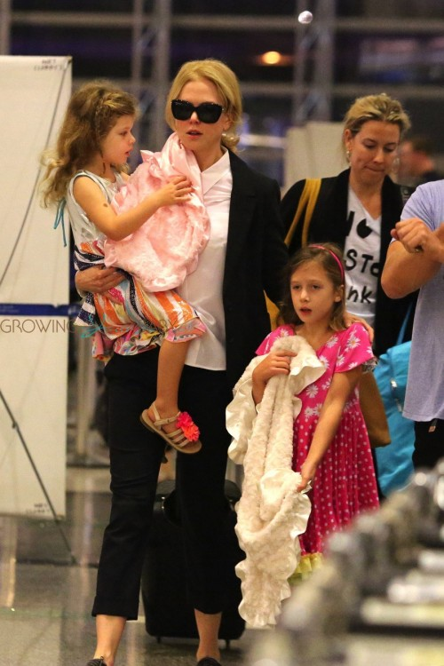 Nicole Kidman with daughters Faith and Sunday at LAX