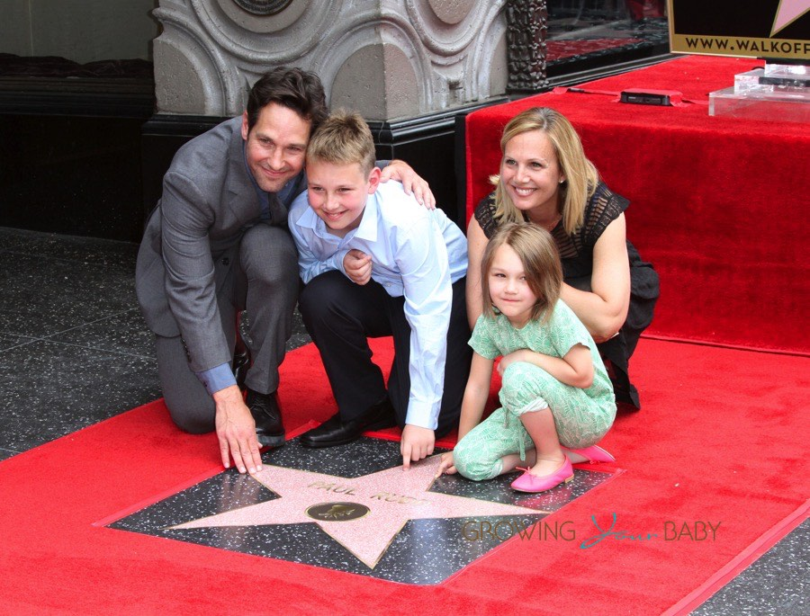 Paul Rudd with wife Julie and kids Darby and Jack at Walk ...