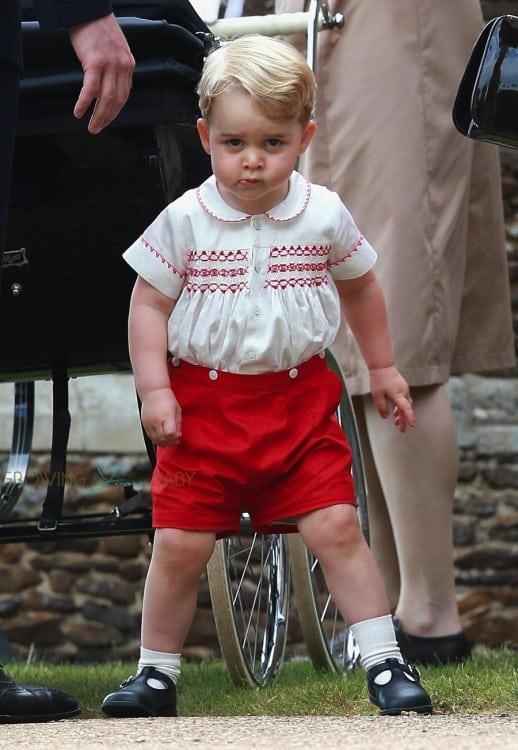 Prince George at his sister, Princess Charlotte's Christening