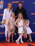 Steven Gerrard and Alex Curran with daughters Lexie, Lilly-Ella and Lourdes at 2015 Nickelodeon Kid's Choice Sports Awards
