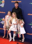 Steven Gerrard with daughters Lexie, Lilly-Ella and Lourdes at 2015 Nickelodeon Kid's Choice Sports Awards