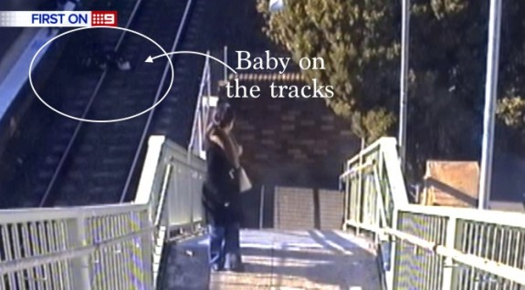 Sydney Grampa Rescues Baby Off Train Tracks