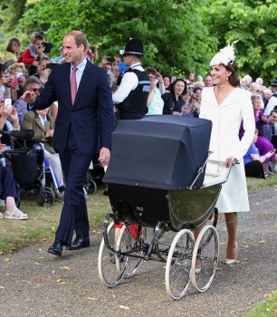 The Duke and Duchess and their children arrive at St Mary Magdalene Church for Princess Charlotte's christening