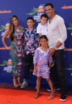 Tony Gonzalez with wife Tobie and kids Malia, River and Nikko at 2015 Nickelodeon Kid's Choice Sports Awards
