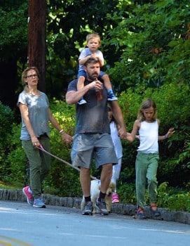 Ben Affleck and Jennifer Garner out for a stroll in Atlanta with kids Sam, Seraphina & Violet