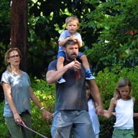 Ben Affleck & Jennifer Garner Walk The Dog With Their Kids