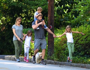 Ben Affleck and Jennifer Garner out for a stroll in Atlanta with kids Sam, Seraphina and Violet