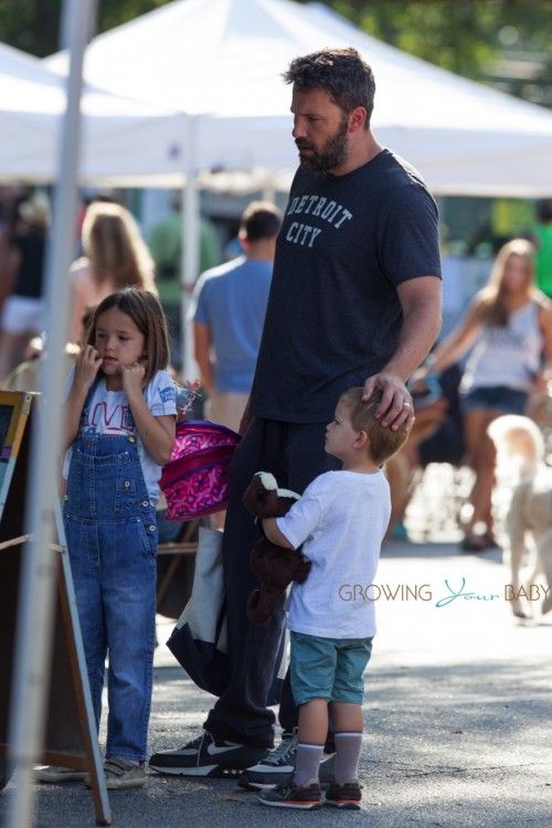 Ben Affleck at the farmer's market in Georgia with kids Sam and Seraphina
