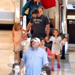 Ben Affleck at the mall in Atlanta with kids Seraphina, Samuel and Violet