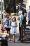 Ben Affleck at the market with his kids Seraphina, Violet and Sam