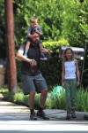 Ben Affleck out for a stroll in Atlanta with kids Violet and Sam