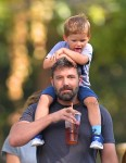 Ben Affleck out for a stroll in Atlanta with son Sam