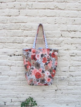 Cottage Chic Upcycled Simple Shopper - Reversible Linen Floral and Polka Dot Market