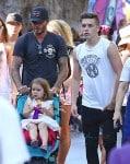 David Beckham at Disneyland with kids Harper and Brooklyn